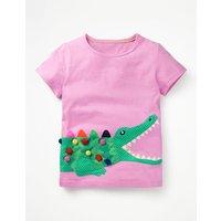 Fluttery Animal T-shirt Purple Girls Boden, Purple