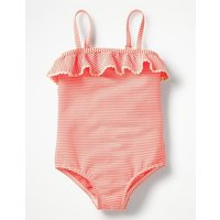 Frill Detail Swimsuit Orange Girls Boden, Ivory at Boden Catalogue