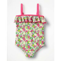 Frill Detail Swimsuit Pink Girls Boden, Pink