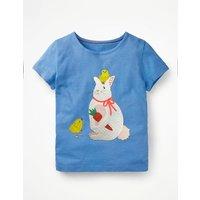Easter Animal T-shirt Blue Girls Boden, Blue
