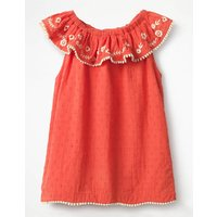 Frill Embroidered Yoke Top Red Girls Boden, Red