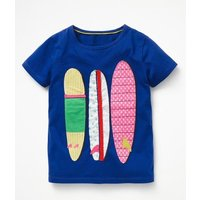Wild Applique T-shirt Blue Girls Boden, Blue