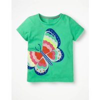 Wild Applique T-shirt Green Girls Boden, Green