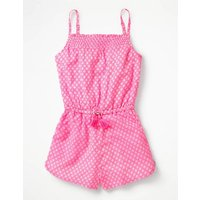 Strappy Woven Playsuit Pink Girls Boden, Ivory