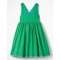 Pretty Embroidered Bow Dress Green Girls Boden, Green