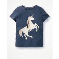 Unicorn Sequin T-shirt Blue Girls Boden, Blue