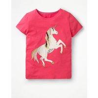 Unicorn Sequin T-shirt Pink Girls Boden, Pink