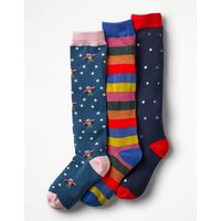3 Pack Knee-high Socks Multi Girls Boden, Multicouloured