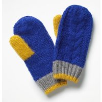Cable Mittens Blue Girls Boden, Blue