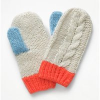 Cable Mittens Ivory Girls Boden, Beige