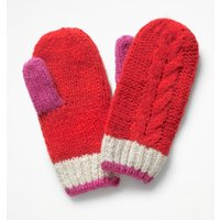 Cable Mittens Red Girls Boden, Red