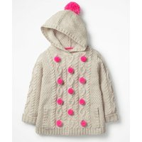Cosy Knitted Hoodie Ivory Girls Boden, Beige