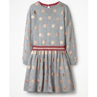Foil Spot Knitted Dress Grey Girls Boden, Grey