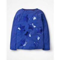Sequin Star Raglan T-shirt Blue Girls Boden, Blue