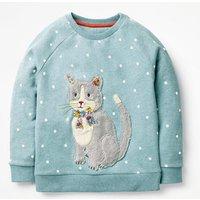 Fluffy Friends Sweatshirt Blue Girls Boden, Blue