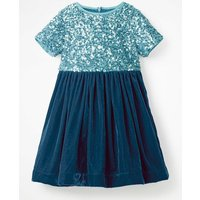 Velvet Sequin Party Dress Blue Girls Boden, Blue