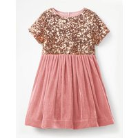 Velvet Sequin Party Dress Pink Girls Boden, Pink