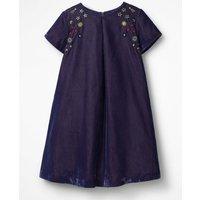 Velvet Space Embroidered Dress Purple Girls Boden, Purple