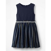 Lurex Stripe Party Dress Blue Girls Boden, Blue