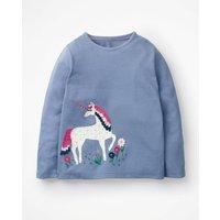 Unicorn Flutter T-shirt Blue Girls Boden, Blue