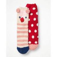 2 Pack Fluffy Socks Red Girls Boden, Red