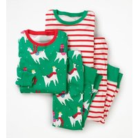 Twin Pack Long John Pyjamas Multi Girls Boden, Green