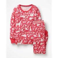 Henley Pyjama Set Red Girls Boden, Pink