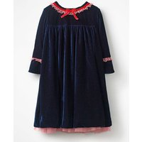 Frill Trim Velvet Party Dress Blue Girls Boden, Navy
