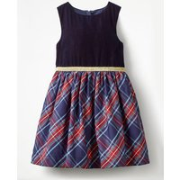 Check Party Dress Navy Girls Boden, Blue