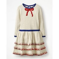 Knitted Party Dress Ivory Girls Boden, Beige