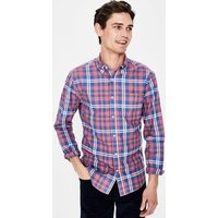 Slim Fit Casual Twill Shirt Red Men Boden, Burgundy