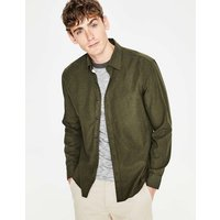Linen Cotton Shirt Green Men Boden, Green