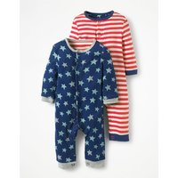 Twin Pack Fun Rompers Blue Baby Boden, Blue
