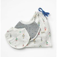 2 Pack Robot Dribble Bibs Multi Baby Boden, Multicouloured