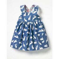 Ruffly Cord Pinafore Blue Baby Boden, Blue