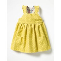 Ruffly Cord Pinafore Yellow Baby Boden, Yellow