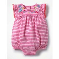 Pretty Embroidered Romper Pink Baby Boden, Beige