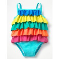 Pretty Frilled Swimsuit Blue Baby Boden, Blue