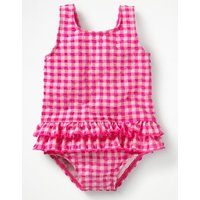 Frilled Seersucker Swimsuit Pink Baby Boden, Pink