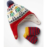 Knitted Hat & Mittens Set Red Baby Boden, Red