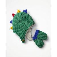 Dinosaur Hat & Mittens Set Green Baby Boden, Green