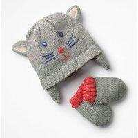 Cat Hat & Mitten Set Grey Girls Boden, Grey