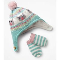 Knitted Hat & Mittens Set Green Baby Boden, Blue