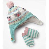 Knitted Hat & Mittens Set Green Girls Boden, Blue
