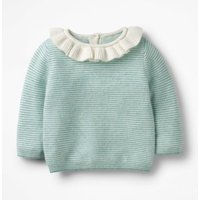 Frilly Cashmere Jumper Green Baby Boden, Blue