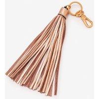 Leather Tassel Keyring Gold Women Boden, Gold Pink