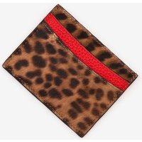 Leather Card Holder Brown Women Boden, Leopard