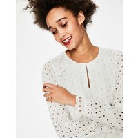 Scallop Broderie Top Ivory Women Boden, Ivory