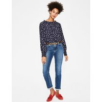 Sadie Silk Top Navy Women Boden, Navy