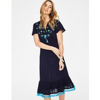 Evelyn Embroidered Dress Navy Women Boden, Navy